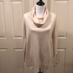 RD STYLE CREME COWL SWEATER WITH ZIP DETAILS